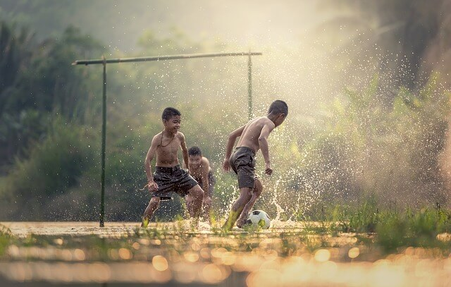 transmit electricity without a transmission line- kids playing football